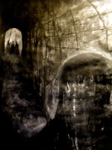 New painting/drawing for my ongoing Hamlet project. The ghost re-enters and is harried by Horatio. Graphite/charcoal/ink/acrylic/dry pigment. Text accompanying image: HORATIO: But soft, behold! lo, where it comes again! I'll cross it, though it blast me. Stay, illusion!