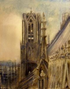 graphite, handmade watercolor, QoR watercolor, acrylic.
